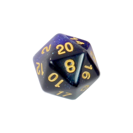 Set of 7 Starlight Polyhedral Dice with Gold Numbers Games and Hobbies NZ