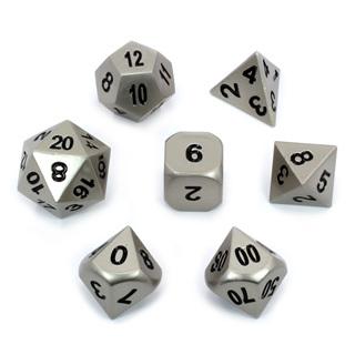 7 'Steel' Metal Polyhedral Dice
