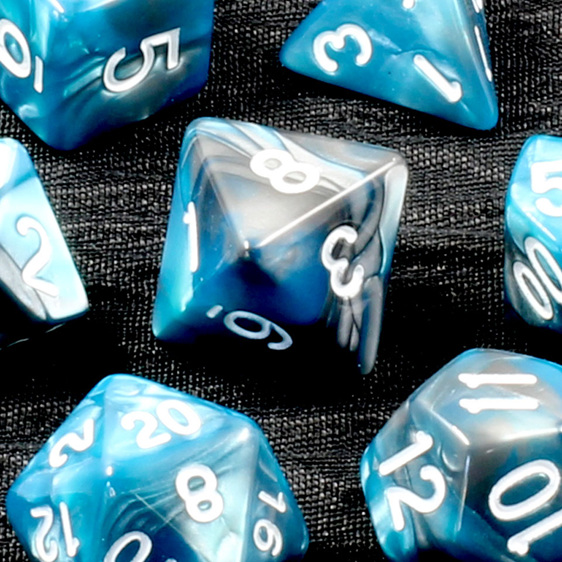 Set of 7 Steel & Teal Fusion Polyhedral Dice Games and Hobbies New Zealand