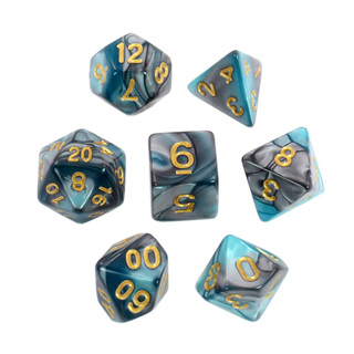 7 Steel & Teal with Gold Fusion Dice