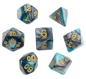 7 Steel & Teal Fusion Polyhedral Dice with Gold Numbers