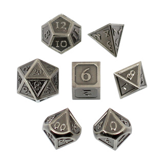 7 'Steel' Vintage Metal Dice