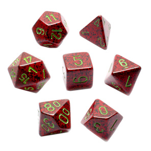Set of 7 Strawberry Polyhedral Dice Games and Hobbies New Zealand NZ