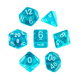 7 Teal with White Translucent Dice