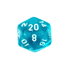 Set of 7 Teal and White Translucent Polyhedral Dice Games and Hobbies NZ