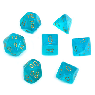 7 Teal with Gold Borealis Dice