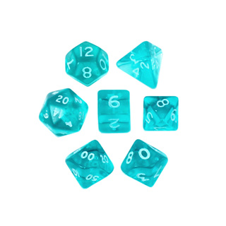 7 Teal with White Translucent Mini Dice