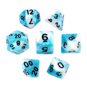 Set of 7 Teal & White Fusion Polyhedral Dice Games and Hobbies New Zealand