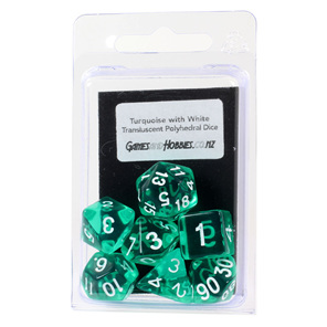 Set of 7 Turquoise and White Translucent Polyhedral Dice Games Hobbies NZ