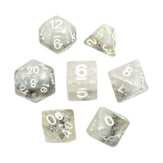 7 White  Snowflake Confetti Dice