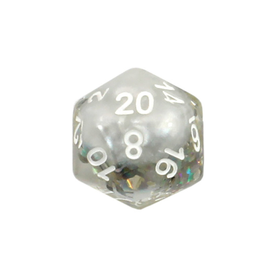 Set of 7 White Snowflake Confetti Polyhedral Dice Games and Hobbies NZ