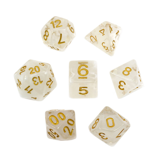Set of 7 White Vapour Translucent Polyhedral Dice with Gold Numbers NZ
