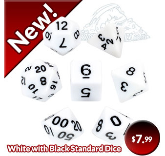 Set of 7 White with Black Standard Polyhedral Dice with Gold Numbers NZ