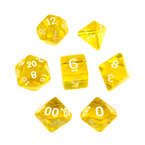 Set of 7 Yellow and White Translucent Polyhedral Dice Games Hobbies New Zealand