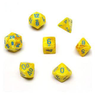 7 Yellow with Blue Vortex Dice