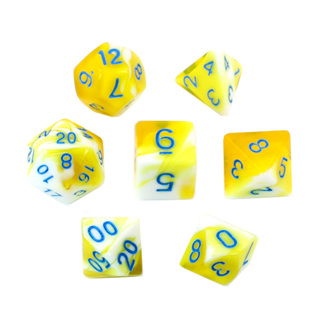 7 Yellow & White with Blue Fusion Dice