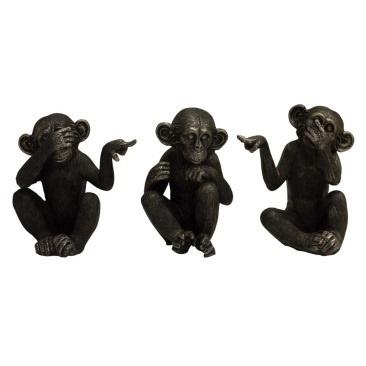 Set of Three Assorted See No Evil Monkeys - 16cmh
