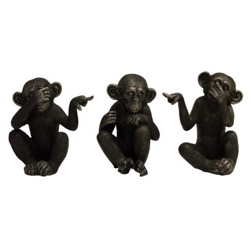 Set of Three Assorted See No Evil Monkeys - 16cmh