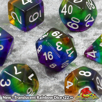 Sets of 7 Rainbow with White Translucent Polyhedral Dice Games and Hobbies NZ