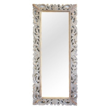 Shaka Wood Carved Mirror - Grey Distress - 51x127cmh