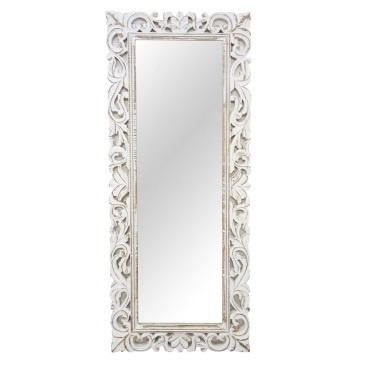 Shaka Wood Carved Mirror - White Distress - 51x127cmh