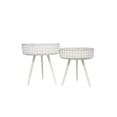 Shanti White Bamboo Table