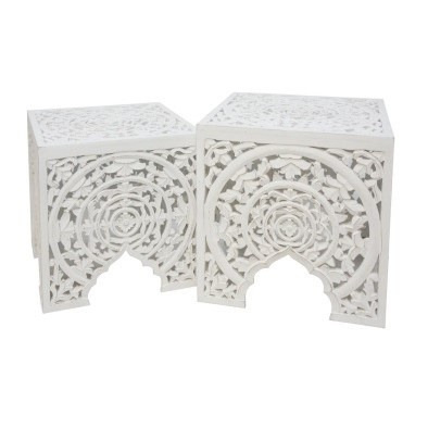 Shanti Wood Carved Tables