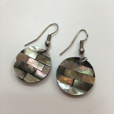 Shell Laid Earrings - Oyster