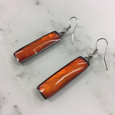 Shell & Resin Drop Earrings - Tangerine