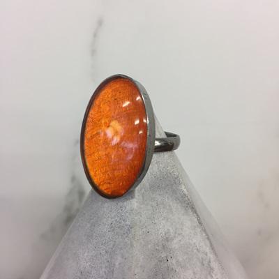 Shell & Resin Ring Oval - Tangerine
