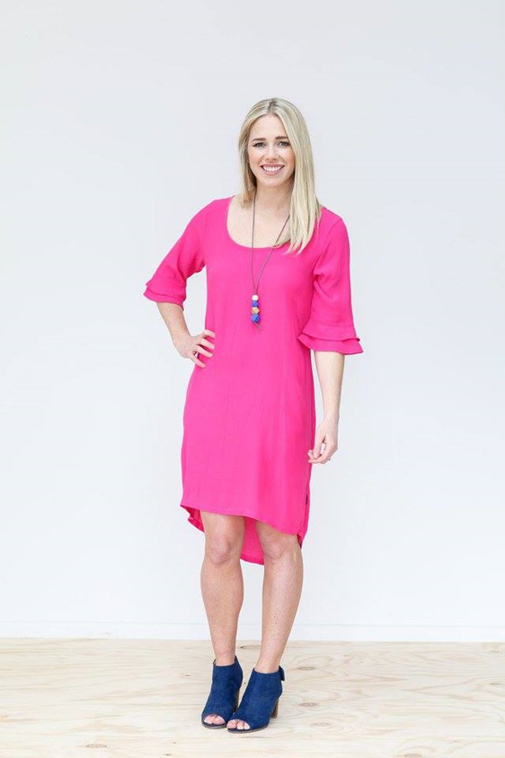 SHIFT FRILLED SLEEVE PINK SIZE 12
