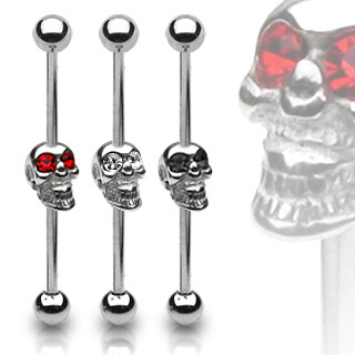Silver Gem Eyed Skull Industrial Bar