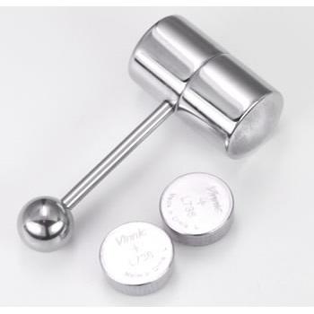 Silver Vibrating Tongue Ring Barbell Capsule
