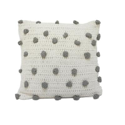 Sim Pom Pom Cushion - Natural & Grey