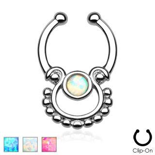 Single Opal Non-Piercing Septum Hanger