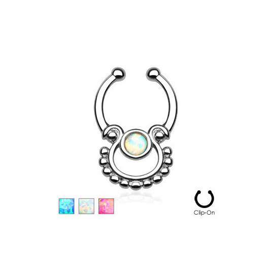 Single Opal Non-Piercing Septum Hanger