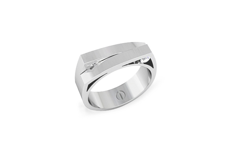 Skiing inspired modern men's wedding ring in palladium with diamonds
