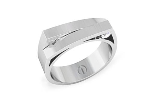 Skiing inspired modern men's wedding ring in palladium with diamonds