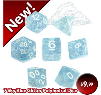 Sky Blue Glitter Dice Now Available