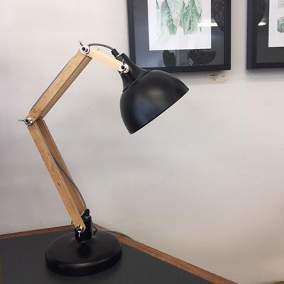 Sleuth Table Lamp with Oak Arm - Matt Black 65cm
