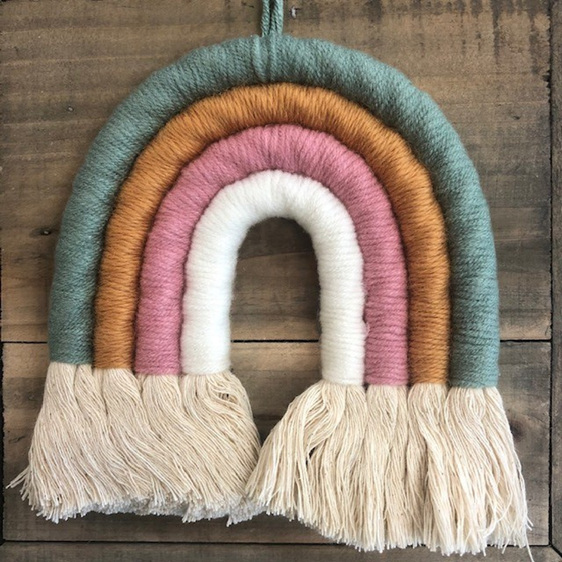Small Woven Rainbow Sage Pink