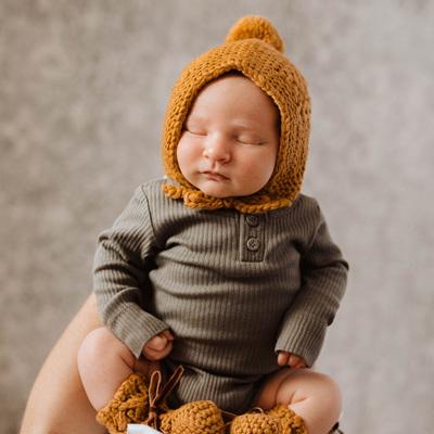 Snuggle Hunny Kids - Bronze Merino Wool Bonnet & Booties Set