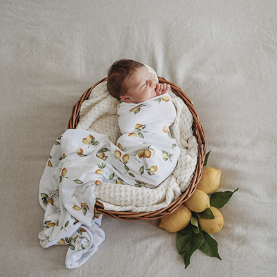 Snuggle Hunny Kids - Lemon -  Baby Jersey Wrap & Beanie Set