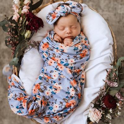 Snuggle Hunny Kids - Vintage Blossom Baby Jersey Wrap & Topknot Set