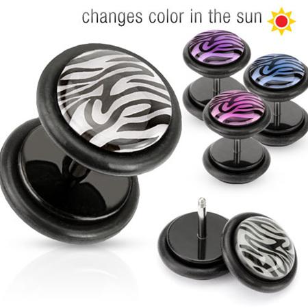 Solar Activated Tiger Print Acrylic Fake Plug w/ O-Ring