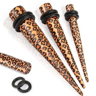 Solid Acrylic Printed Leopard Skin Taper with O-Rings