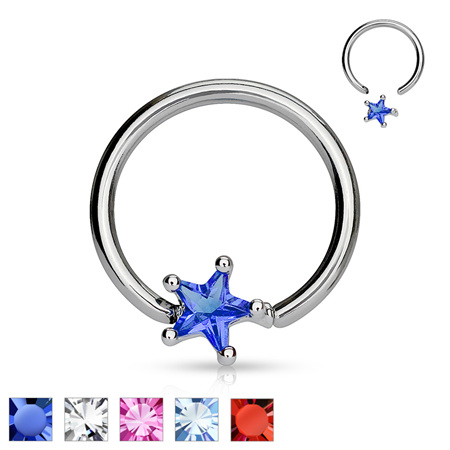 Solitaire Star CZ Captive Bead Ring