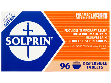 Solprin Pain and Fever Relief Dispersible Tablets 300mg Aspirin 96 pack