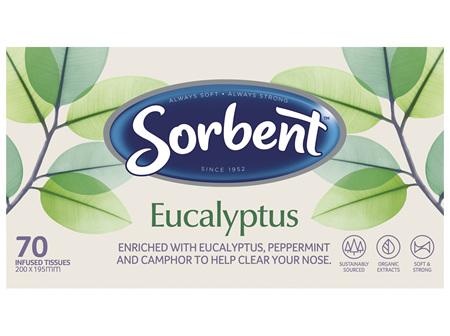 Sorbent Facial Tissue Eucalyptus 70 Pack