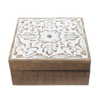 Spiral Wood Carved Box - White Distress 19x12cm